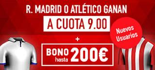 Supercuota 9 sportium Real Madrid vs Atletico + 200 euros liga 8 abril JRVM