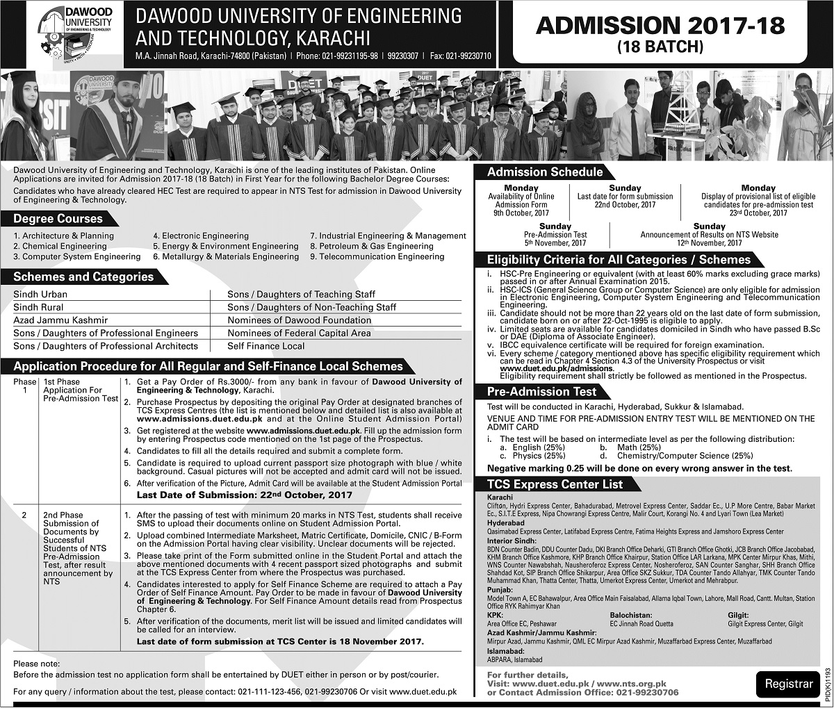 Admissions Open in Dawood University of Engineering and Technology - 2017