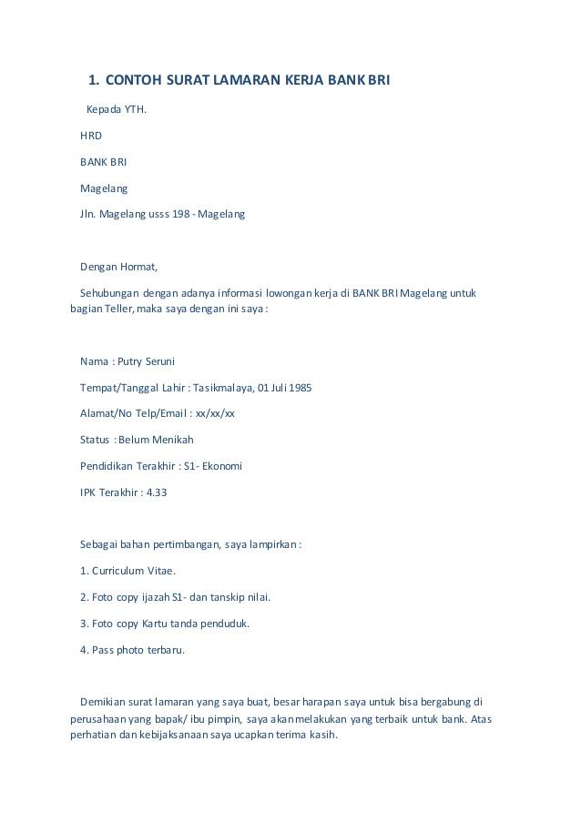Contoh Surat Lamaran Kerja Di Bank Pdf