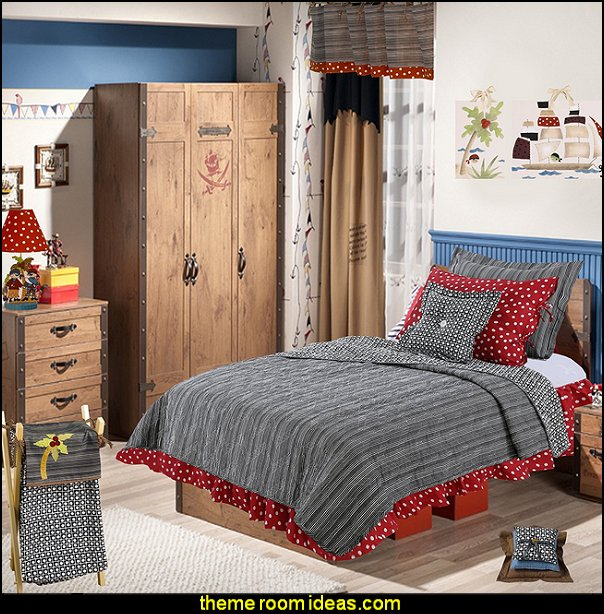 Pirates Cove bedding  pirate bedrooms - pirate themed furniture - nautical theme decorating ideas - pirate theme bedroom decor - Peter Pan - Jake and the Never Land Pirates - pirate ship beds - boat beds - pirate bedroom decorating ideas - pirate costumes