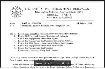 SURAT EDARAN KENIAKAN JABATAN FUNGSIONAL GURU TAHUN 2019, http://www.librarypendidikan.com/