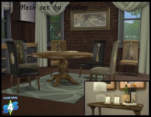 My sims 4 blog round table dining room set by anidup1 for Sims 3 dining room ideas