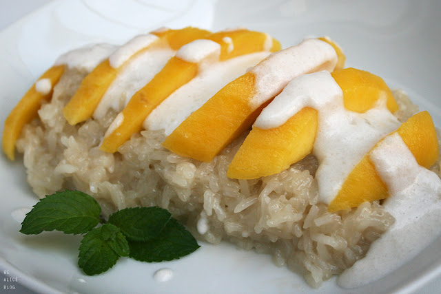 sticky rice with mango, sticky rice, mango, Thai, dessert, coconut