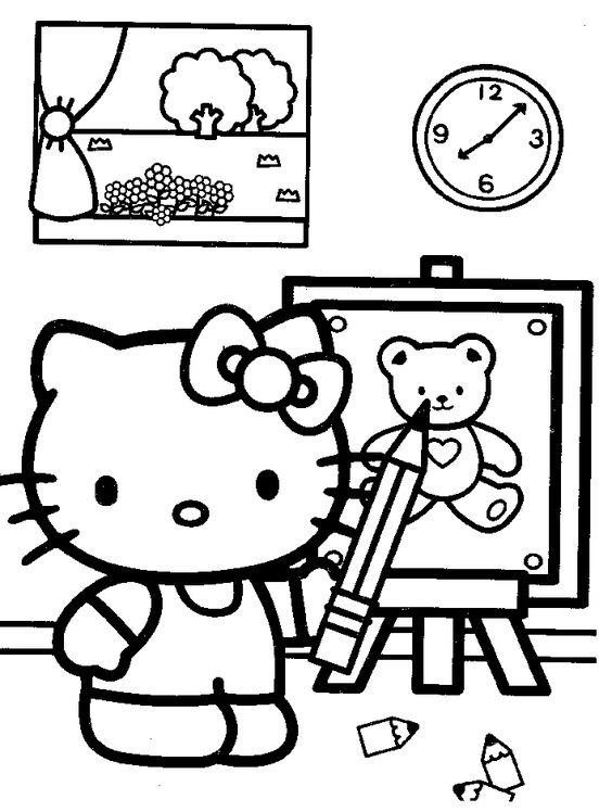 Tranh tô màu mèo hello kitty vẽ tranh