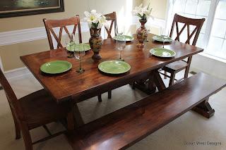 Custom Farmhouse Trestle Table, Bench, Chairs