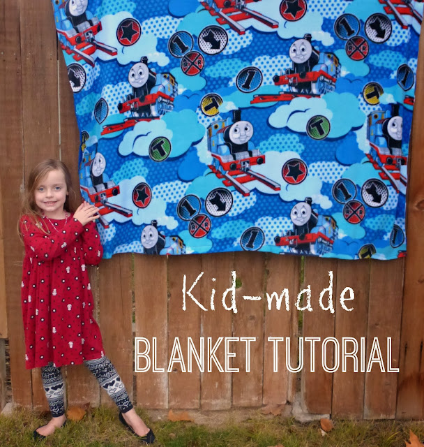 teaching kids to sew: making a fleece blanket
