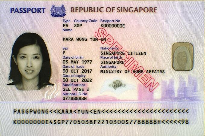 The new design for the Singapore biometric passport includes additional security features.
