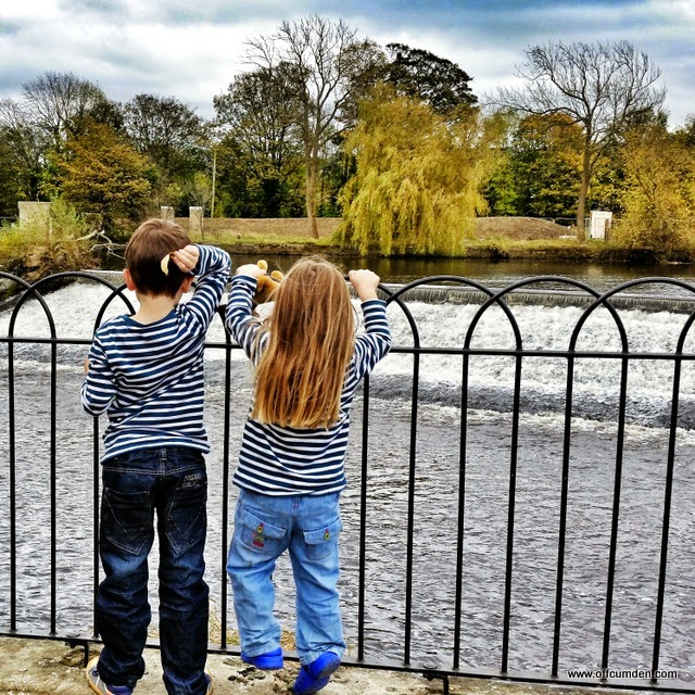 Children watching river