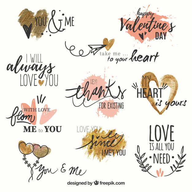 Set of love phrases with watercolor hearts Free Vector