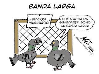banda larga, renzi, sviluppo, infrastrutture, tecnologia, vignetta, satira
