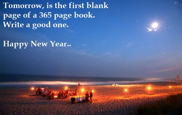 Happy New Year Images with Quotes on the Beach