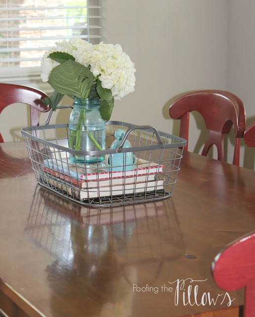 summer kitchen, kitchen lighting, kitchen accessories, kitchen rug, clean kitchen, Pottery Barn, kitchen table, Blue Ball jar, hydrangeas