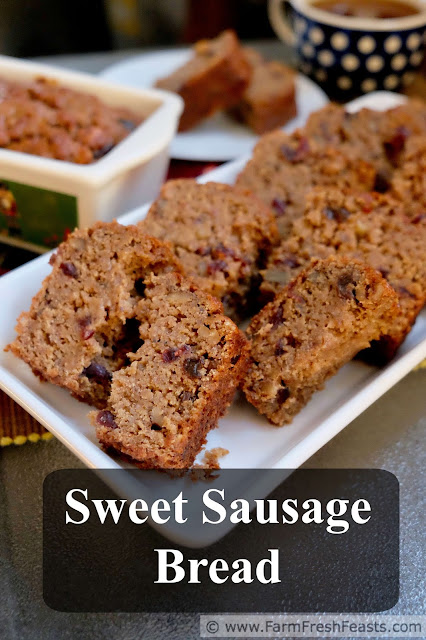 This quick nut bread combines sweet fruit and savory pork sausage for the ultimate in grab and go breakfast treats, with plenty of protein to get and keep you going.