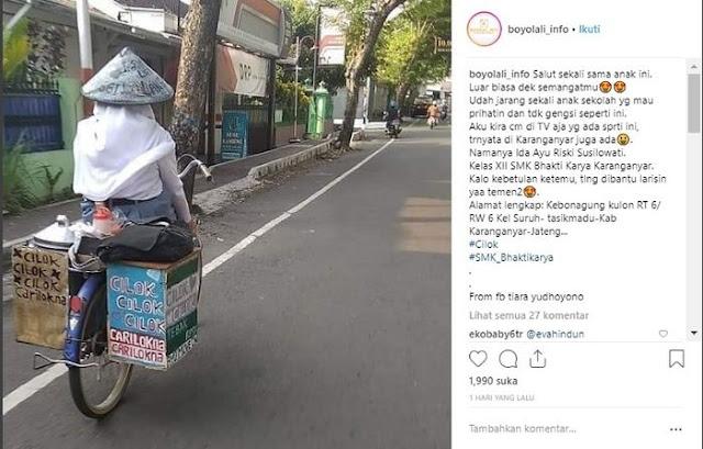 5 Fakta Haru Dibalik Viralnya Gadis SMK Cantik Penjual Cilok di Karanganyar