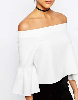 Off the shoulder top with ruffle sleeve, $48.53 from ASOS