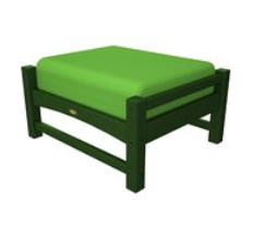 Trex Outdoor Furniture Rockport Club Rainforest Canopy Ottoman with Macaw Sunbrella Cushion