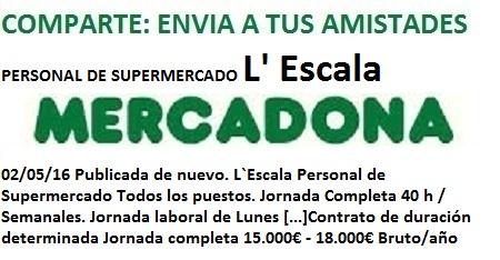 Lanzadera de Empleo Virtual Girona. Oferta Mercadona L`Escala