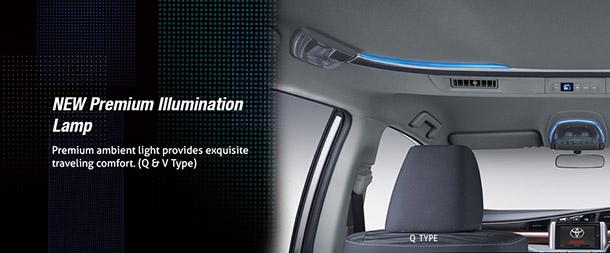 Illumination LED pada plafon Toyota All-New Kijang Innova (tipe Q dan V).