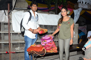 Actress Sri reddy (apthatrust director) Distrubuted Blankets for Orphans at Sai Baba Temple  0014.JPG