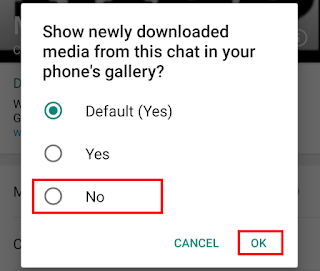 Select 'No' in the pop-up box