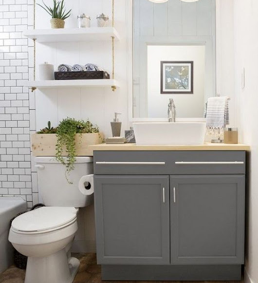What are some ideas for small bathroom shelving
