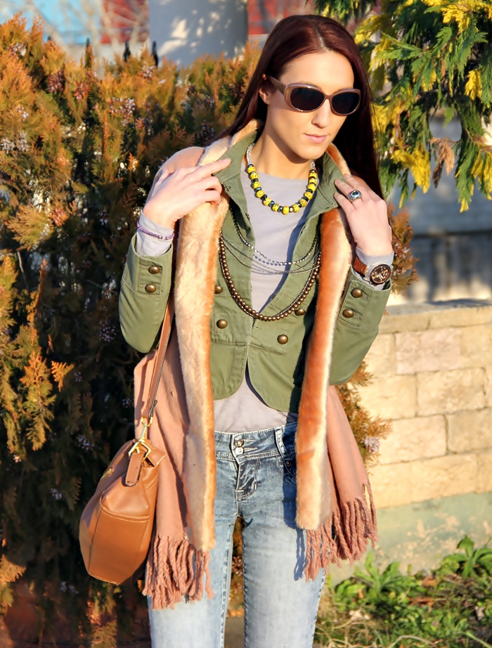 army green Mango short jacket with bronze gold buttons