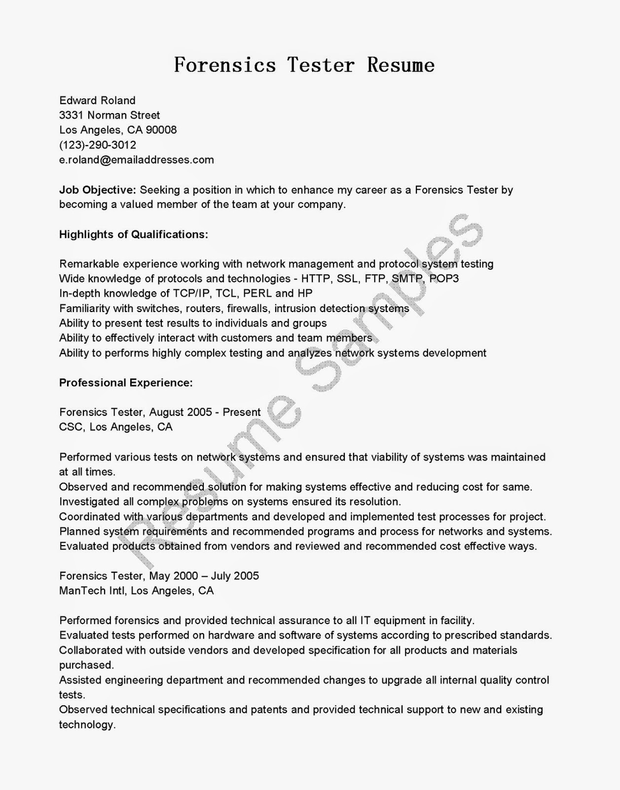 Sample Resume For Manual Testing Fresher How To Write Qa Test Technician