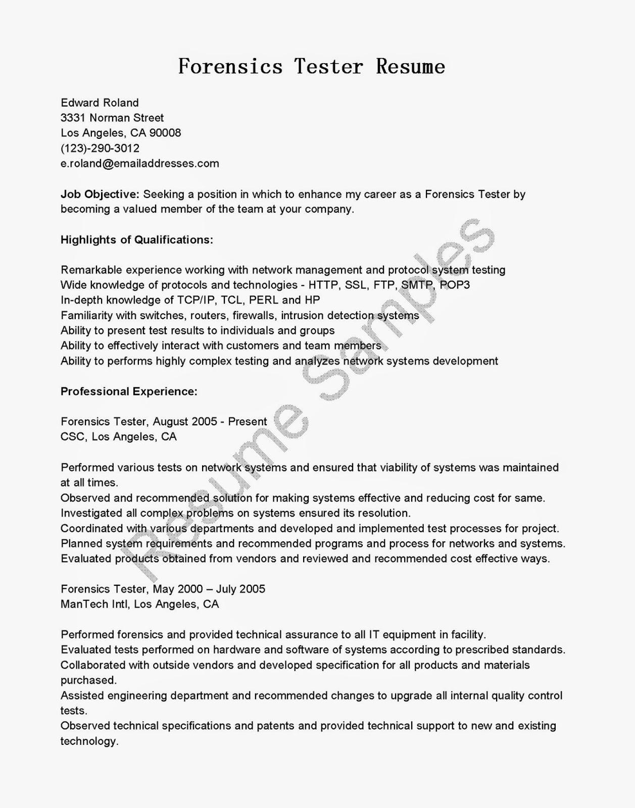 sample manual testing resumes software testing resume ...