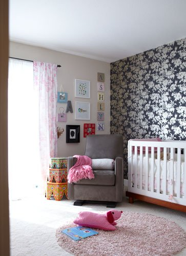 Nursery Accent Wall Using Wallpaper
