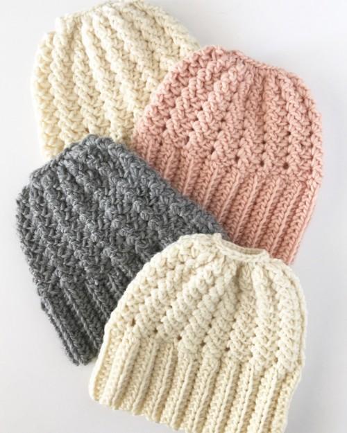 Sprig Stitch Bun Beanie - Free Pattern