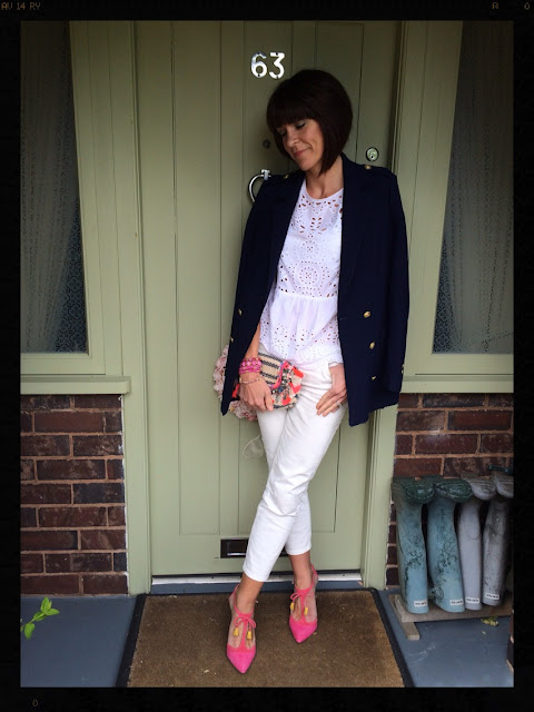 My Midlife Fashion, Accessorize, Boden, Zara, Embroidery Anglaise, White jeans, denim, distressed denim, Alice Heels, Hot pink, blazer