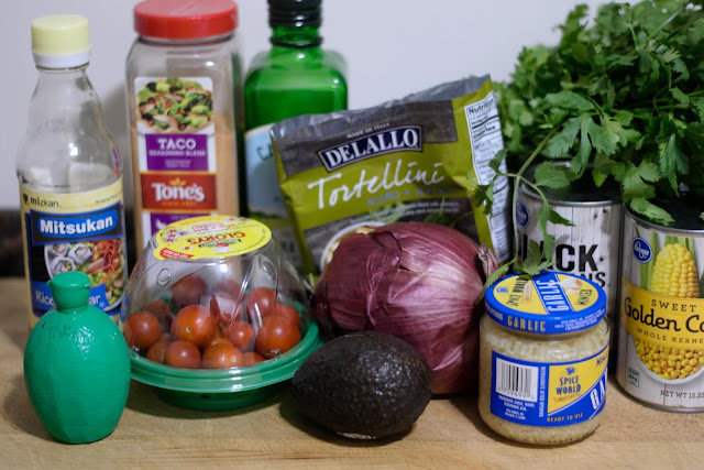 A picture of all the ingredients needed to make the Mexican Pasta Salad Recipe with Tortellini.