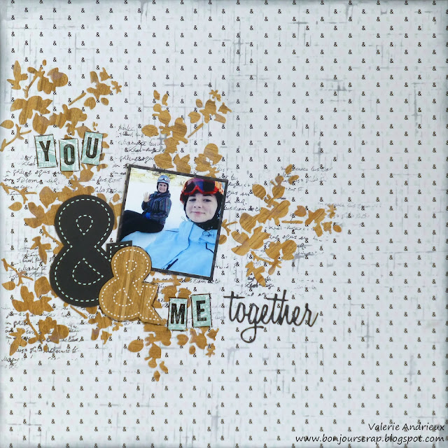 scrapbooking layout with Tim Holtz dies and DCWV papers