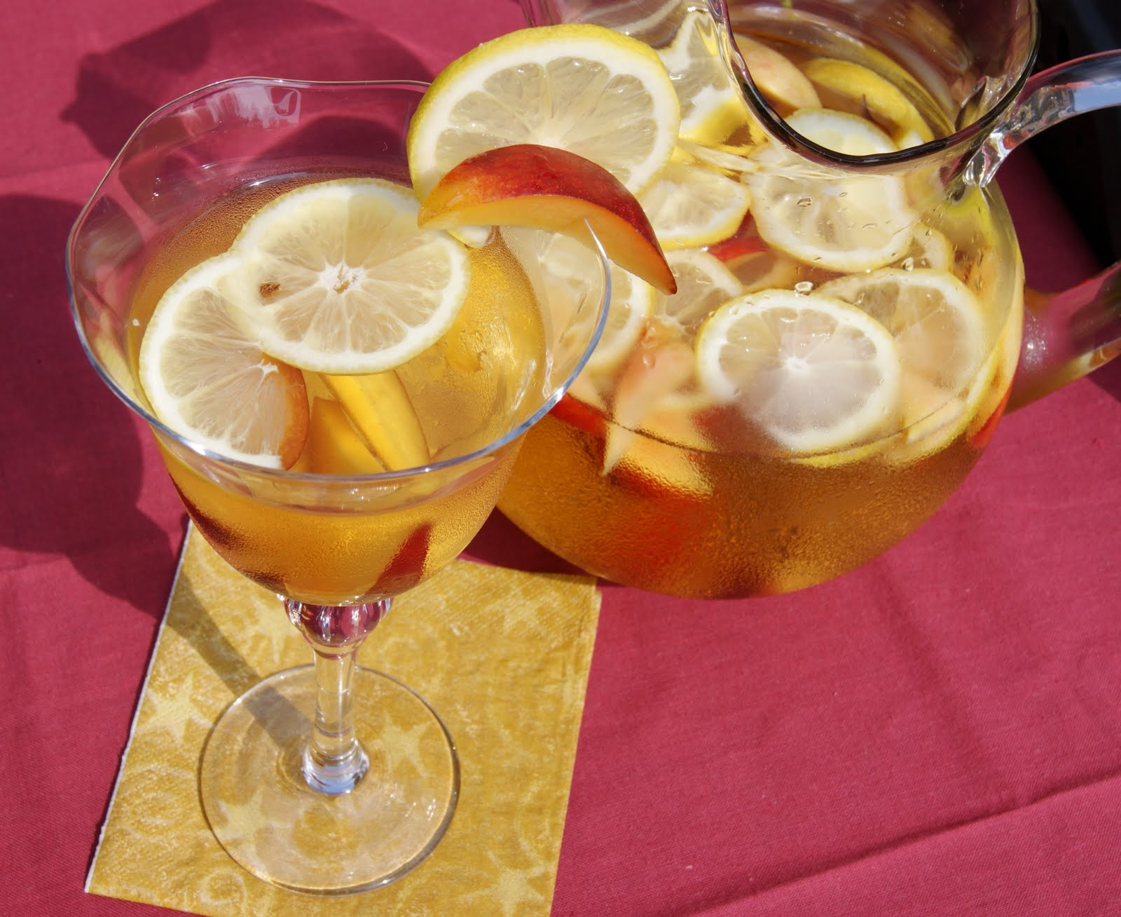 White Sangria with Nectarines, Plums, & Lemons