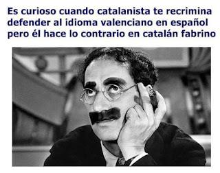 Es curioso cuado un catalanista te recrimina defender al idioma valenciano en español pero él hace lo contrario en catalán fabrino