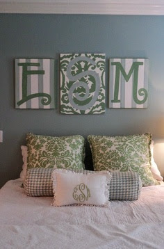 green and blue bedroom with letters pictures