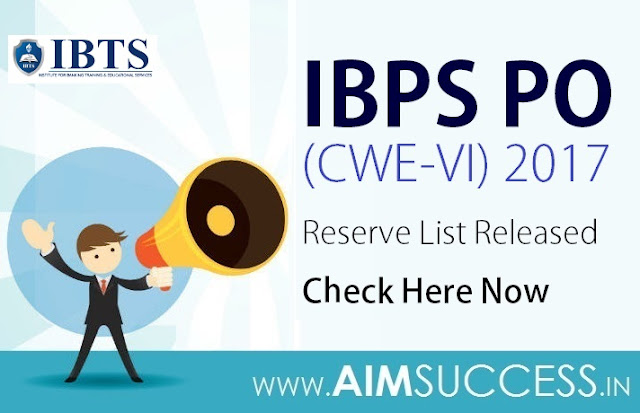 IBPS PO (CWE-VI) 2017 Reserve List Released: Check Here