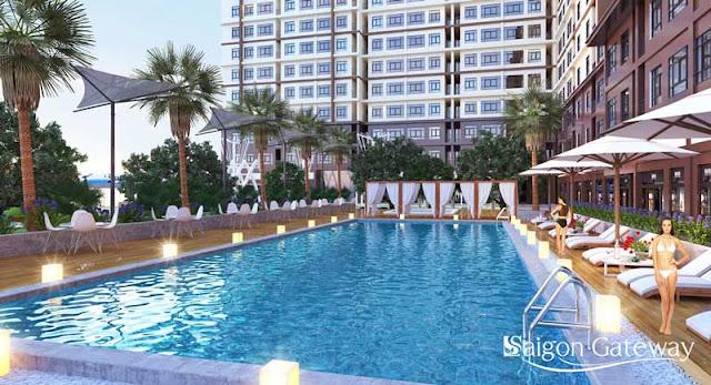 Hồ bơi tràn trong dự án căn hộ Saigon Gateway