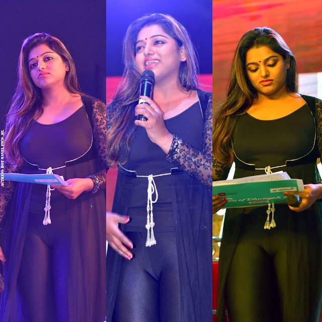 Anchor Meera Anil Hot in Tight Black Dress