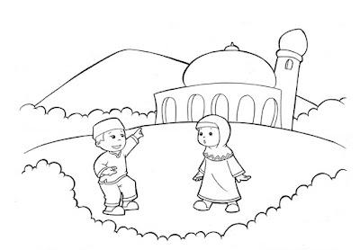 Gambar Untuk Mewarnai Anak Muslim