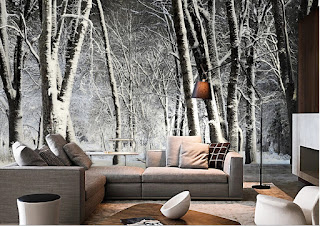 skogtapet vinter snö träd 3d skogsmotiv