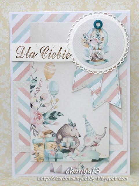 kartka z jeżykiem i słonikiem