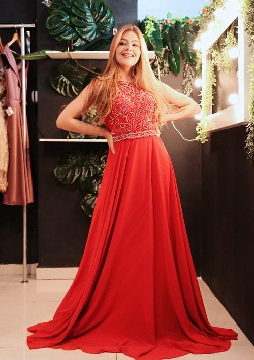 vestido vermelho coral para madrinha de casamento