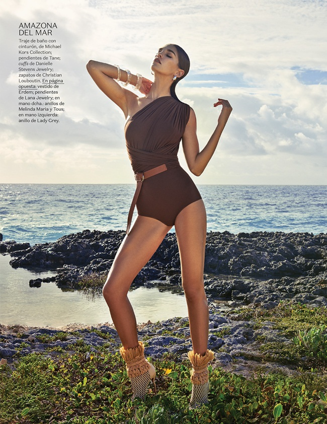 2016 SS Michael Kors One Shoulder Safari Swimsuit 13 Looks