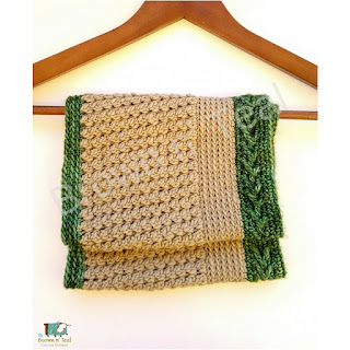 crochet cowl folded in a hanger malabrigo yarn in colours chapel stone and verde adriana