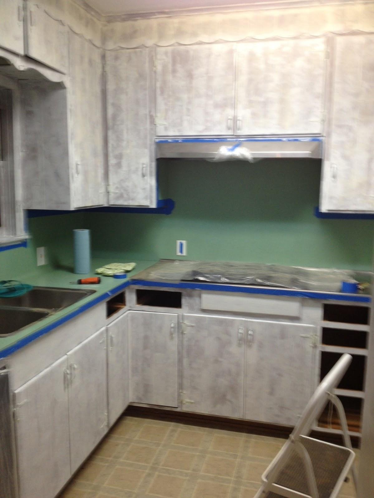 Splotchy Green Paint Kitchen