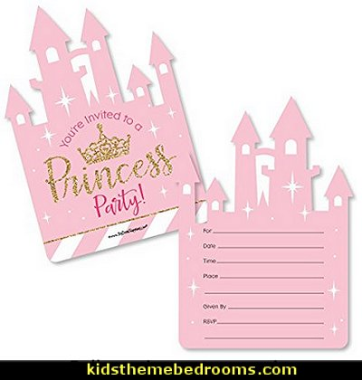 Princess Crown - Shaped Fill-In Invitations - Pink and Gold Princess Baby Shower or Birthday Party Invitation Cards with Envelopes