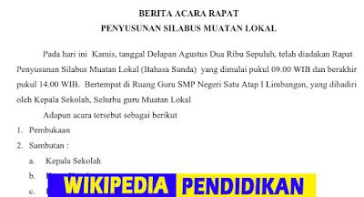 Download Contoh Berita Acara Rapat Penyusunan Silabus Mulok Guru