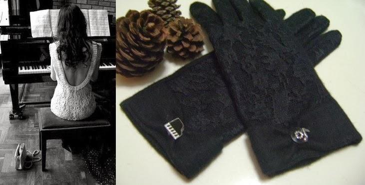 piyano plak nota siyah dantel kaşe eldiven