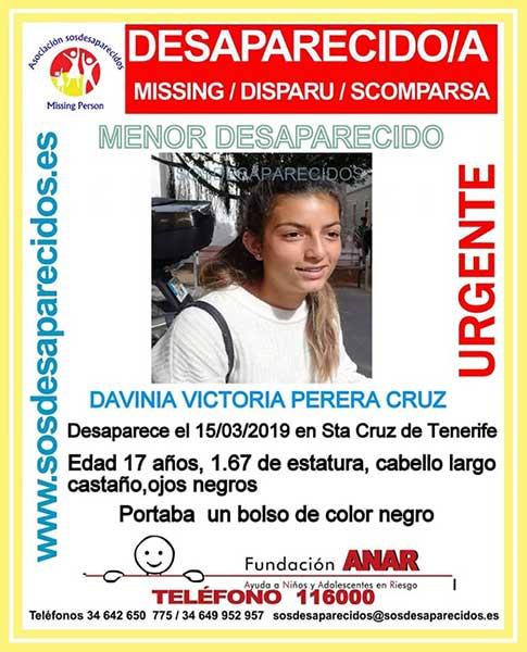 Joven desaparecida en Santa Cruz de Tenerife, Davinia Victoria Perera